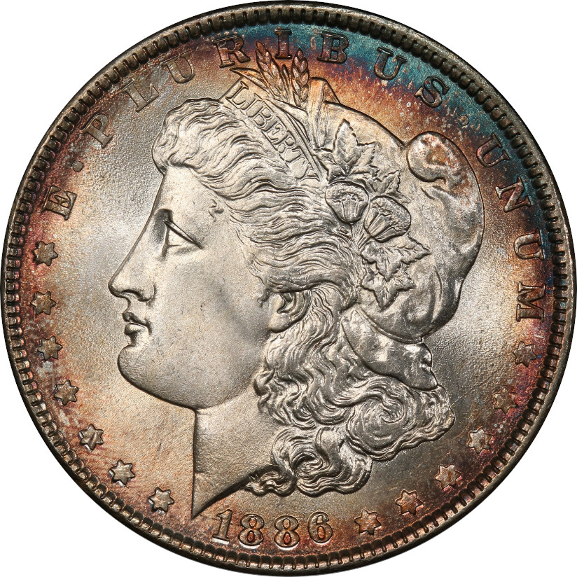 This coin is a spectacular Mint State 68. But setting aside the astonishing eye appeal of the coin and its orange peel luster, the toning, to us, rated about a 3/10. Feel free to disagree.