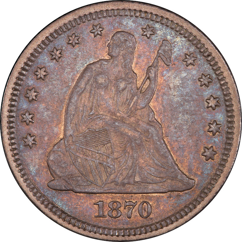 1870-CC Liberty Seated Quarter, Obverse