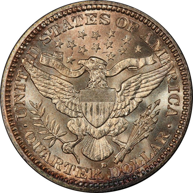 1916-D Barber Quarter, Reverse