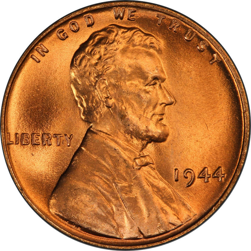 Bronze 1944 Lincoln Wheat Penny, Mint State Red, Obverse