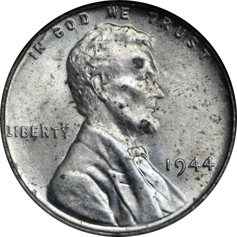 Steel 1944 Lincoln Penny, Mint State, Obverse