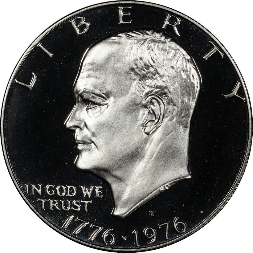 1976-S Proof Bicentennial Eisnehower Dollar, Obverse