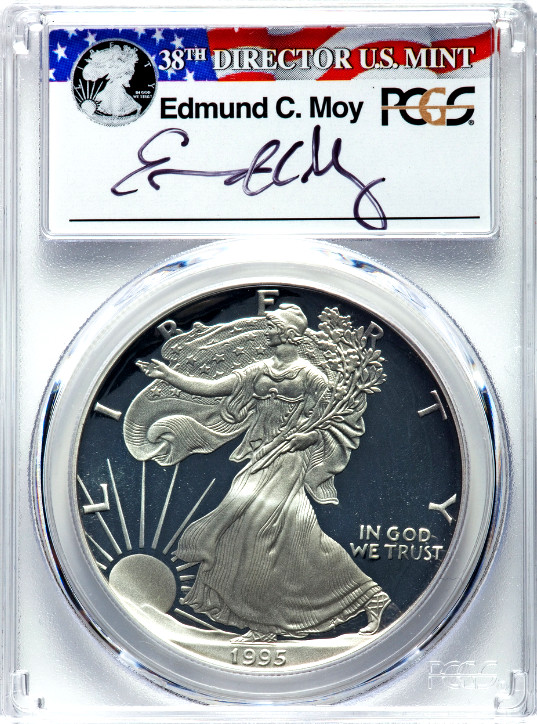 1995-W Proof American Silver Eagle, Moy Signature Slab, Obverse