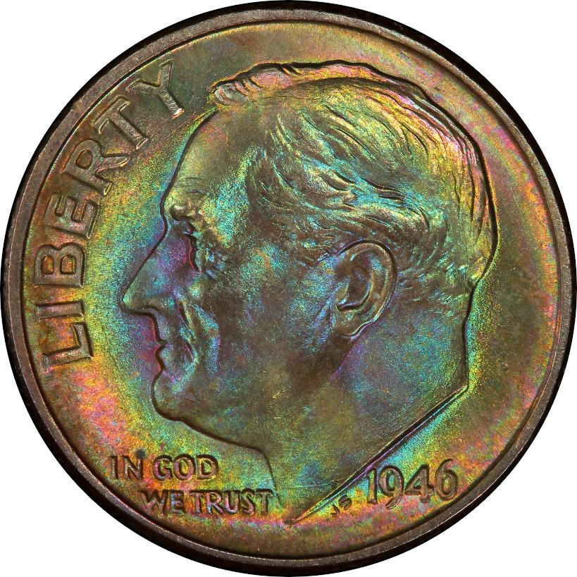 1946 Roosevelt Dime, Mint State 68 Full Bands, Obverse