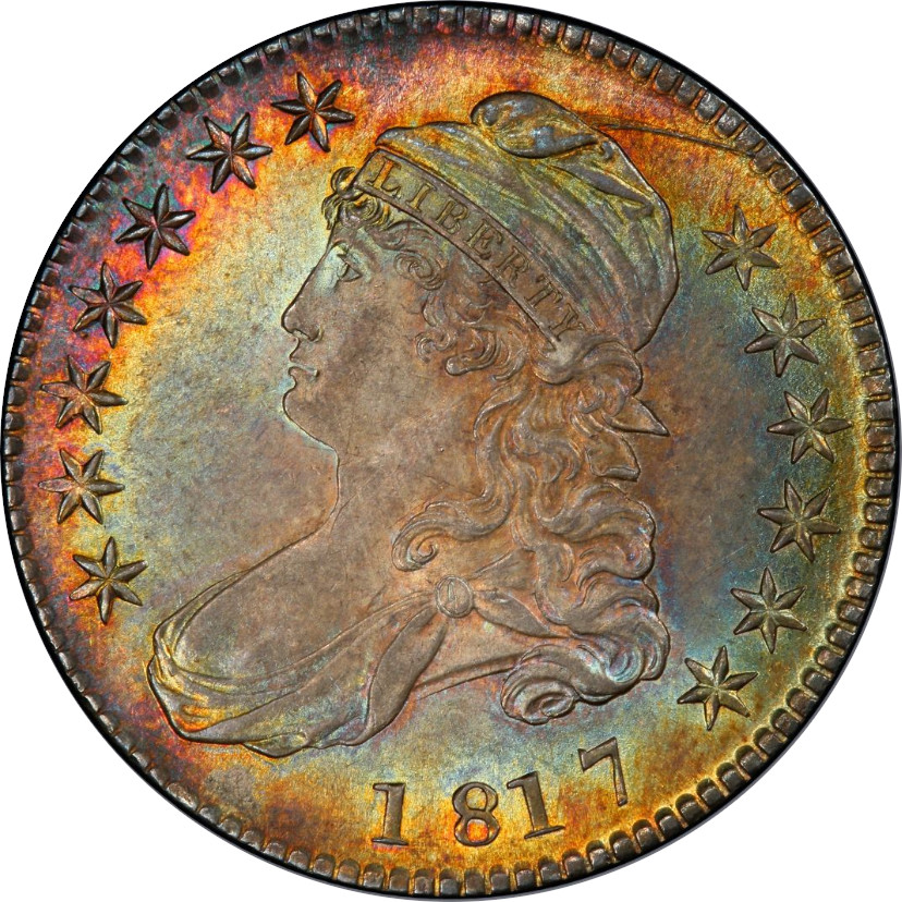 1817 O-106a Single-Leaf Under Wing Capped Bust Half Dollar, Obverse