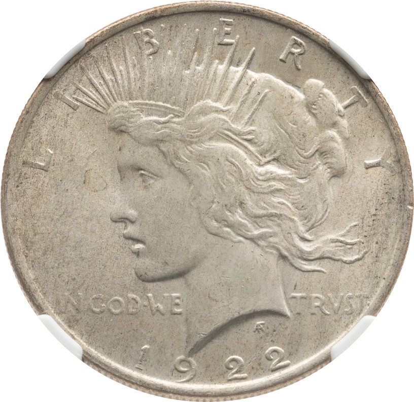 1922 Peace Dollar, NGC certified MS-63, from the Second Sale of the Niel Armstrong Family Collection. This coin appears to be properly graded, unlike most others.